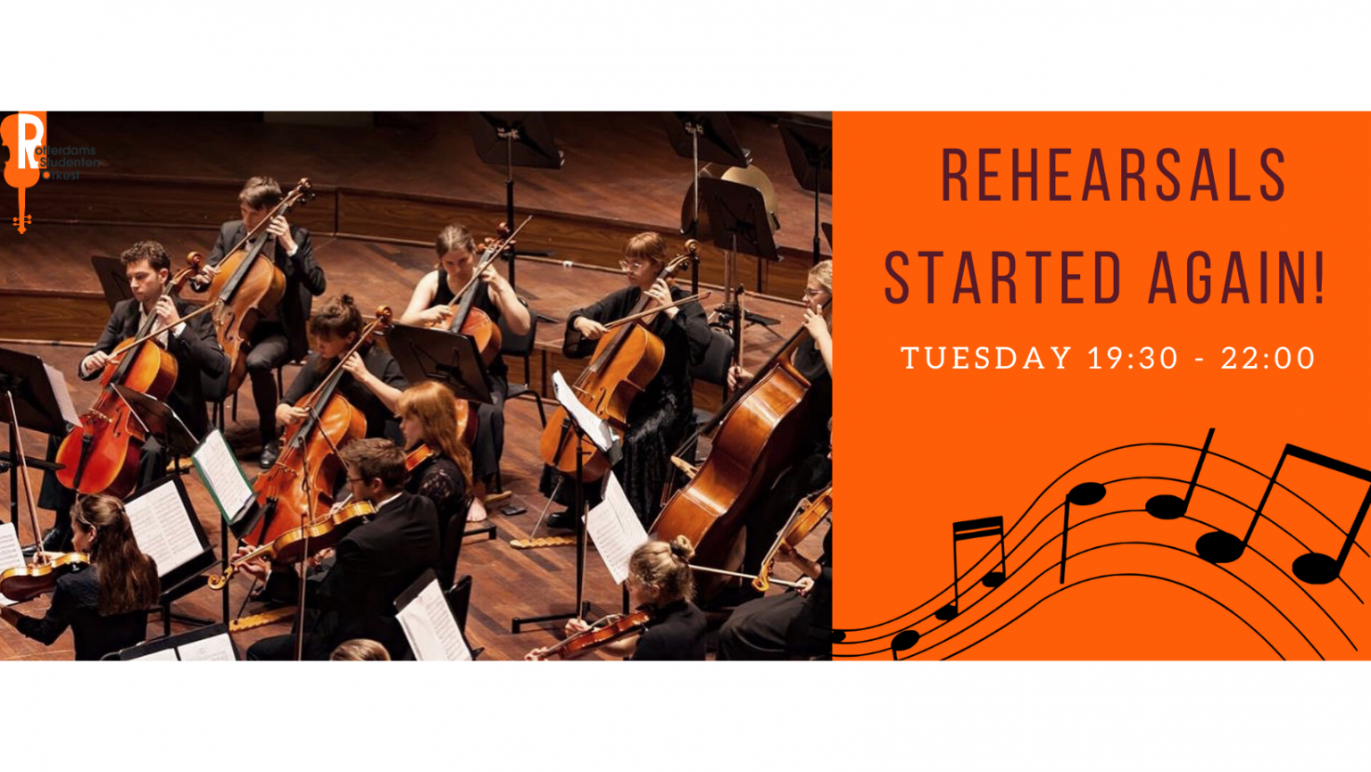 Rehearsals started again, Tuesday 19:30-22:00